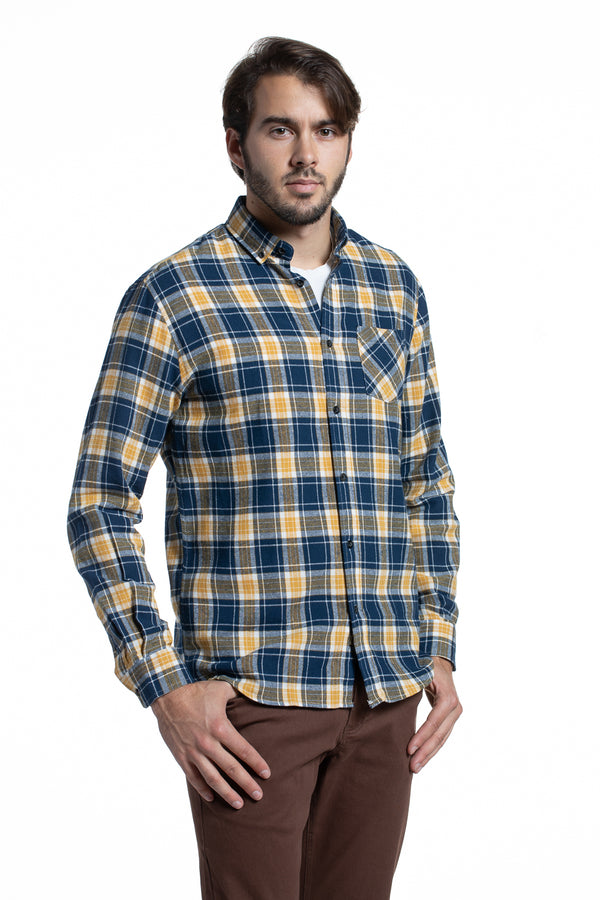 Supersoft Clonmore Flannel Checked Shirt in Navy / Yellow