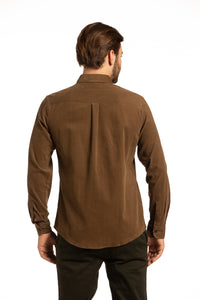 Clifden Corduroy Shirt in Coffee Brown