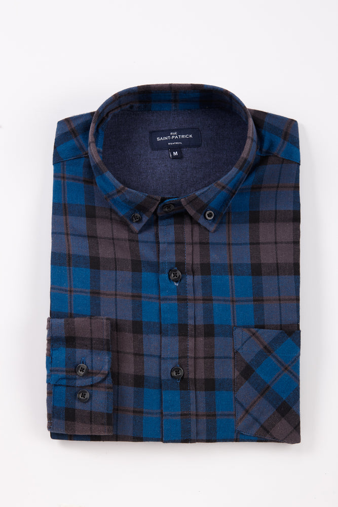 Lightweight Clonmore Brushed Check shirt in Teal / Grey
