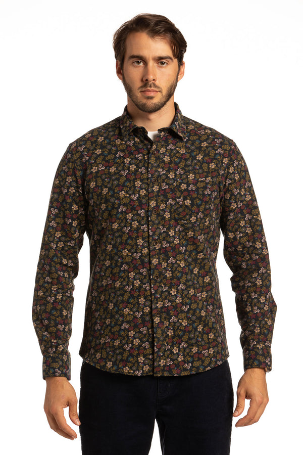 Tipperary Printed Floral Flannel shirt in Navy / Olive
