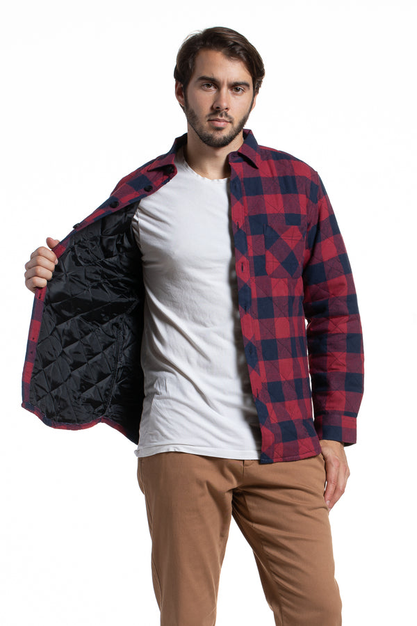 Heavyweight Quilted Workwear Overshirt in Charcoal / Red
