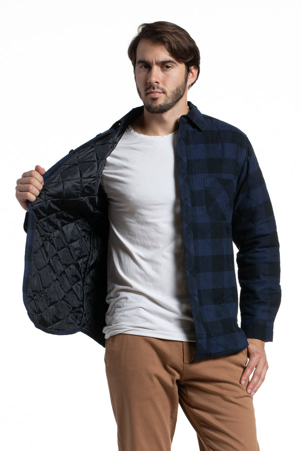 Heavyweight Quilted Workwear Flannel in Navy / Black