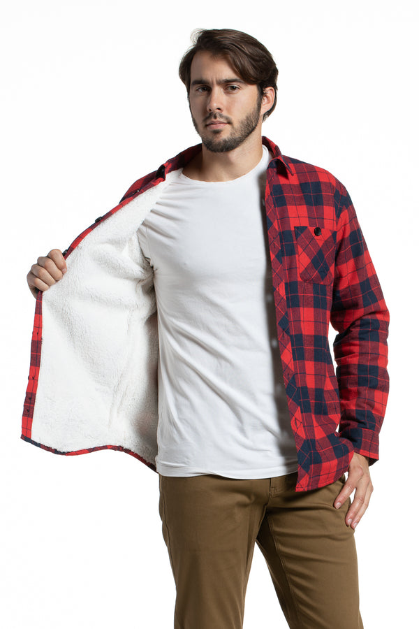 Sherpa Lined Overshirt in Red / Navy Flannel Check