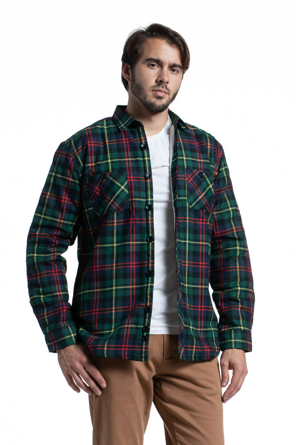 Sherpa Lined Overshirt in Green Flannel Check