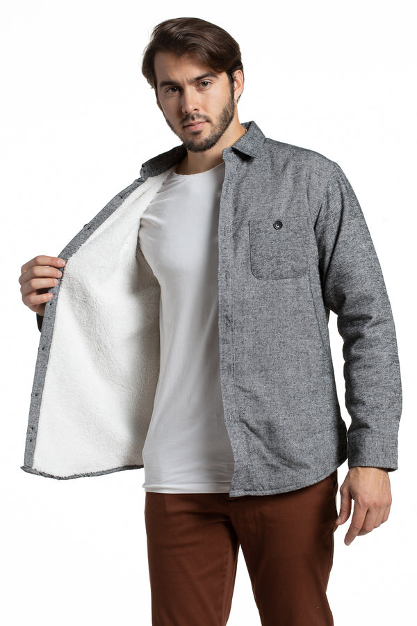 Sherpa Lined Overshirt in Grey Diagonal Twill