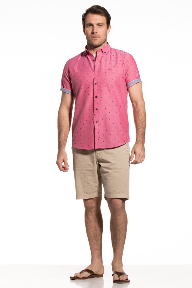 Printed Oxford Wexford Shirt in Cherry Red