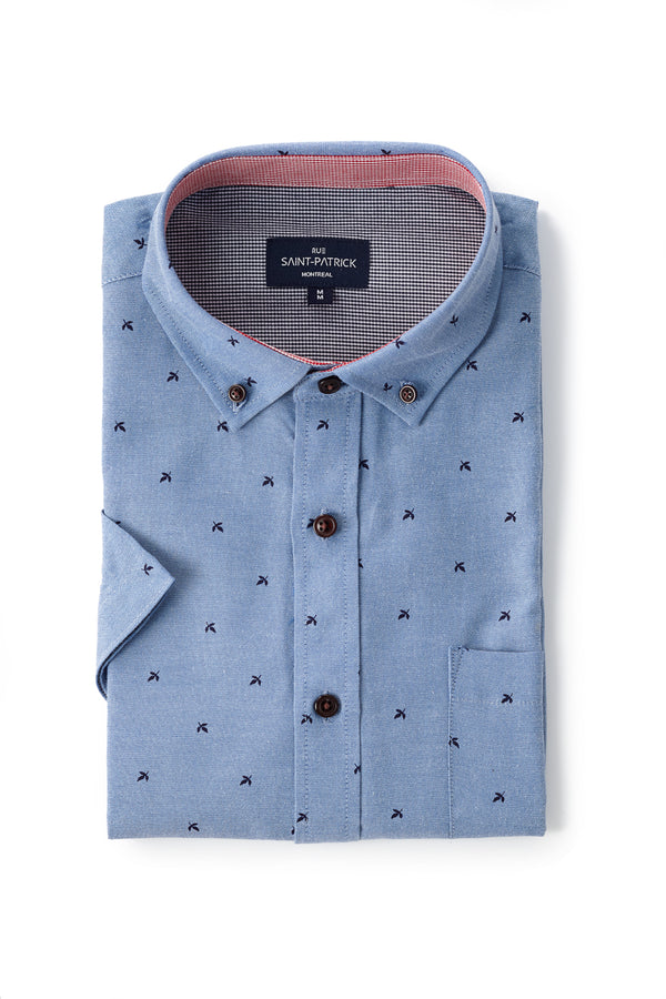 Printed Oxford Wexford Shirt in Mid Blue