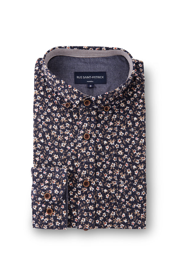 Dromore Flannel in Dark Navy with Discreet Floral print