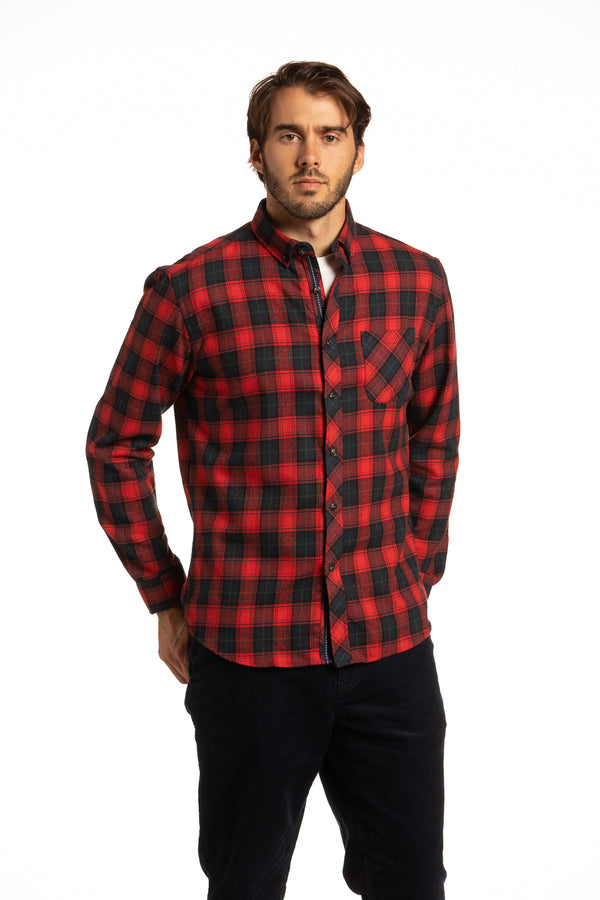 Rathlin Buffalo Check Flannel Shirt in Red