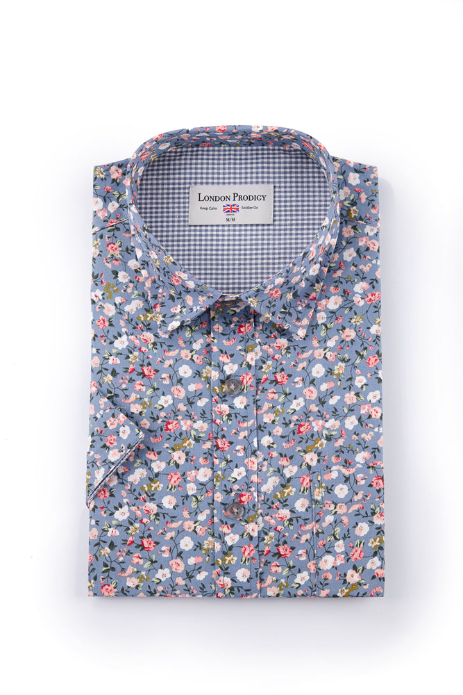 English Garden Floral Print Short Sleeve Shirt