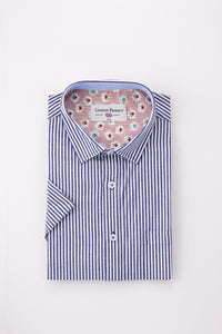 Pinstripe London Prodigy Short Sleeve Shirt in Blue