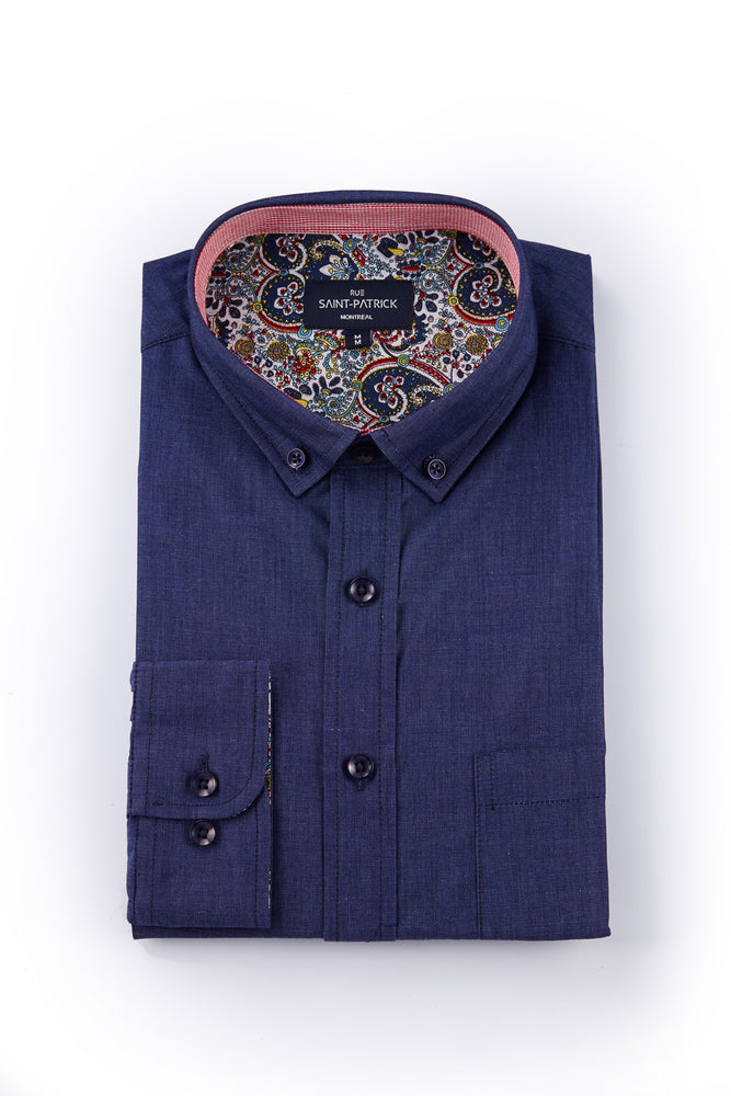 Washed End-on-End Navy shirt with Paisley Trim