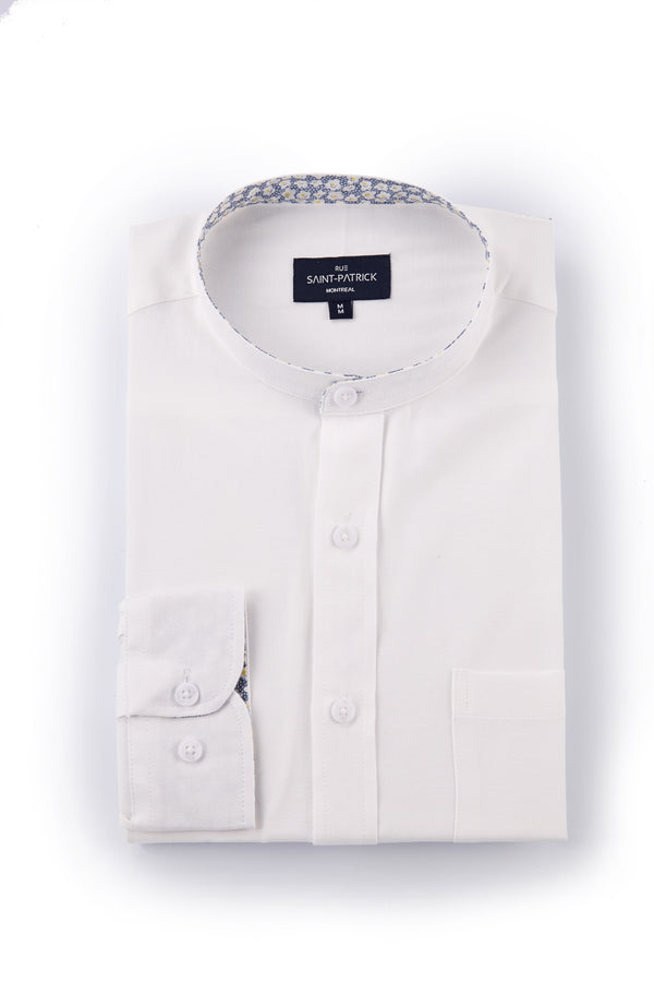 Banded collar Easy Care Oxford in Off-White