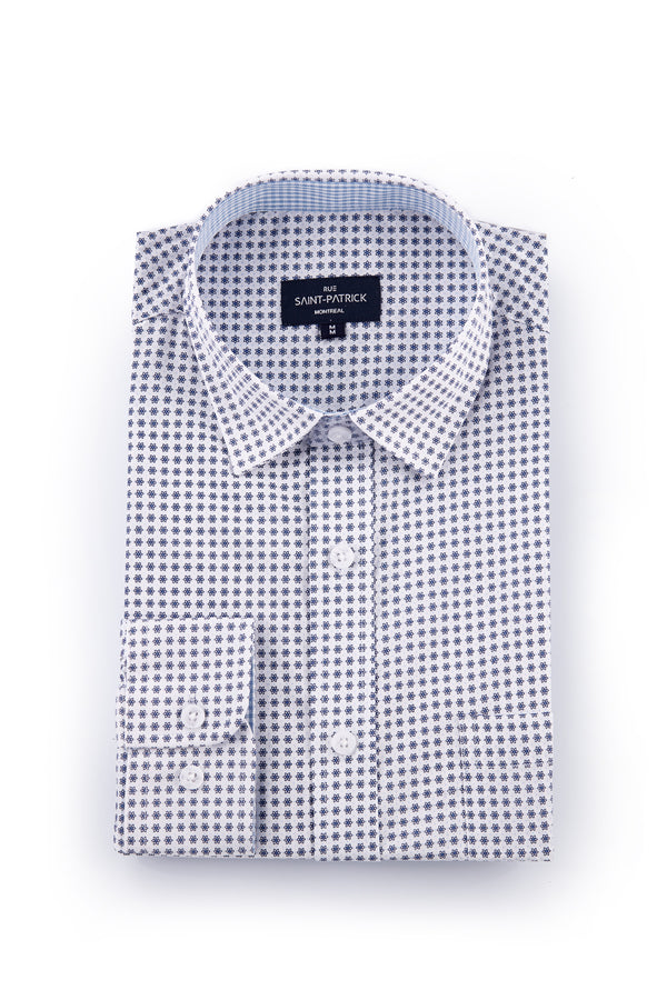 Stretch White Poplin Shirt with Purple Atoms Print