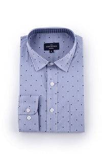 Dotted Pinstripe Stretch Poplin shirt in Blue and White