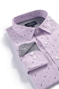 Easy Care Feather Leaf Print in Lavender Pinstripe