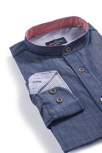 Dingle Denim Ripstock Shirt in Indigo