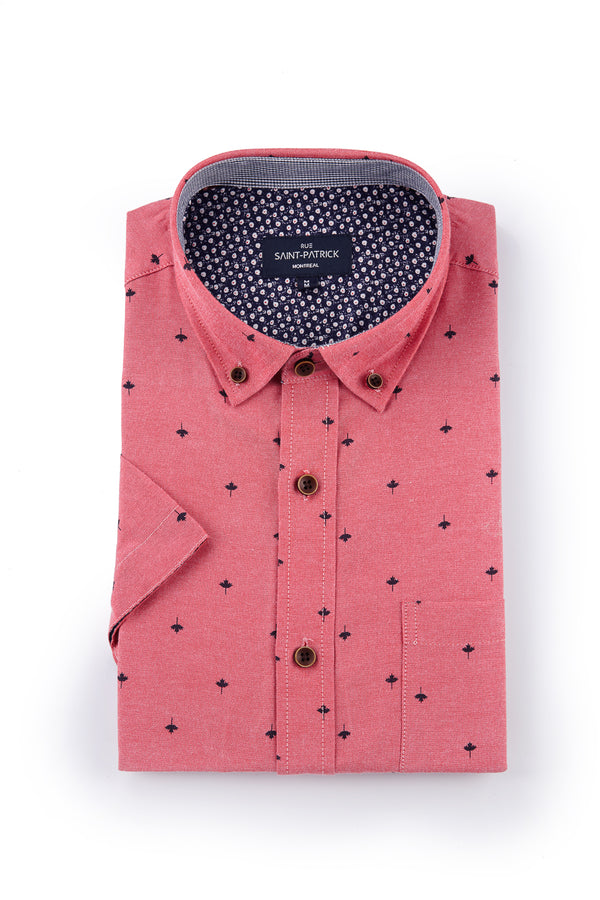 Easy Care Kells Oxford with Maple Leaf print in Red Apple