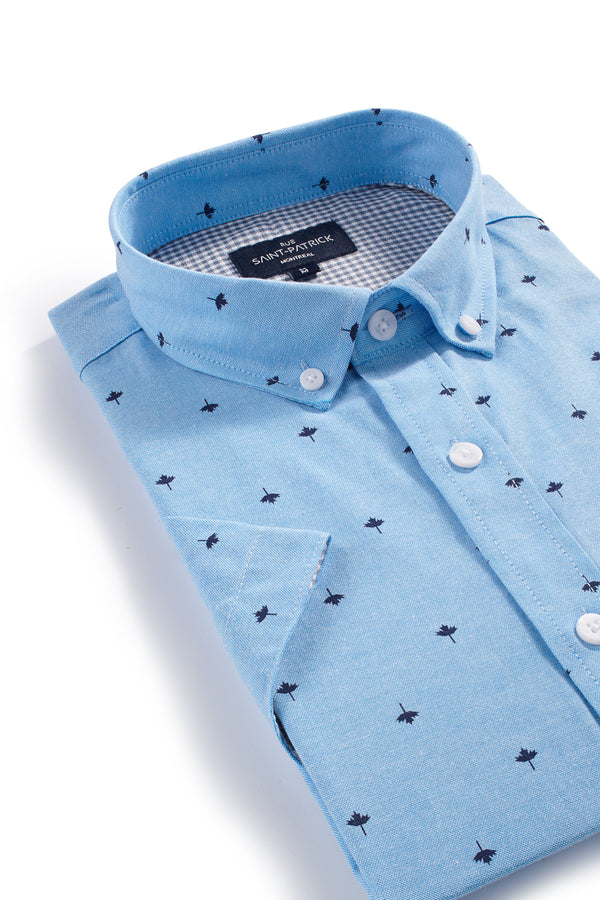 Easy Care Kells Oxford with Maple Leaf print in Aqua Blue