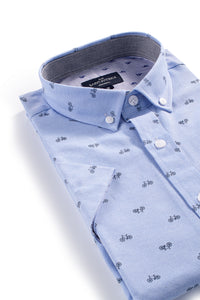 Easy Care Kells Oxford Shirt with Bicycle print in Sky Blue