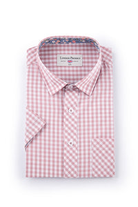 Dusty Pink Gingham Checked Short Sleeve Shirt