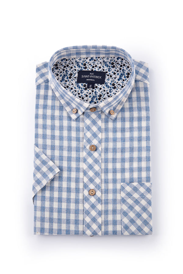 Gingham Check Ballina Shirt in Light Blue