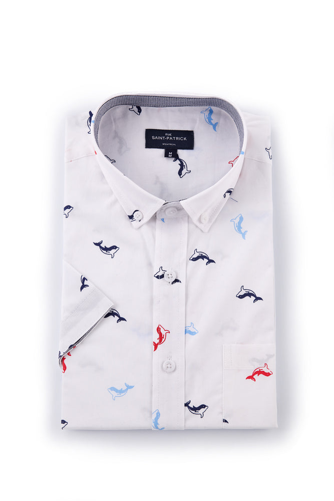 Dolphin Print Shirt in White