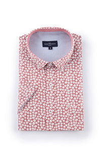Floral Poplin Shirt in Red