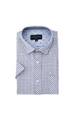 Ballina Shirt in Light Blue with White Leaf Pattern
