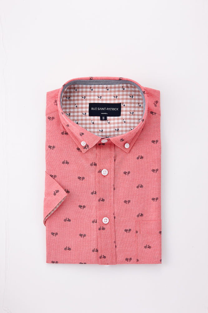 Bicycle Print Shirt in Cherry Red