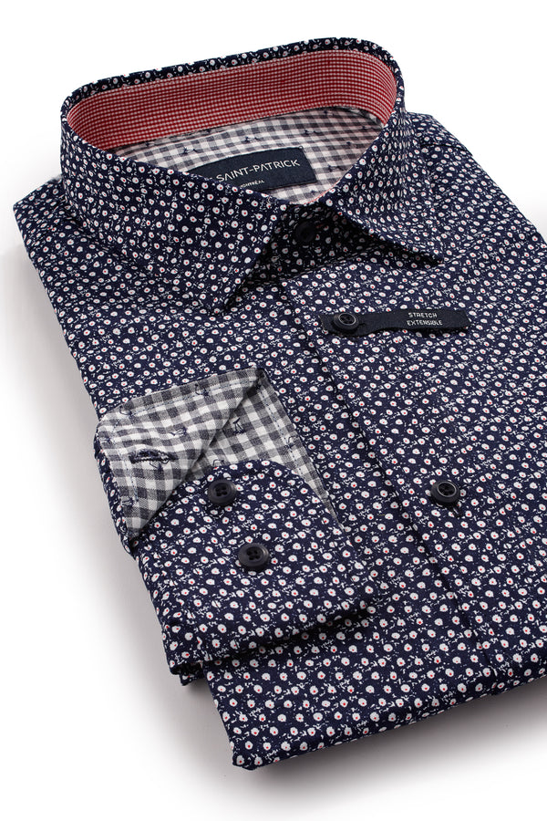 Stretch Poplin Floral Shirt in Navy