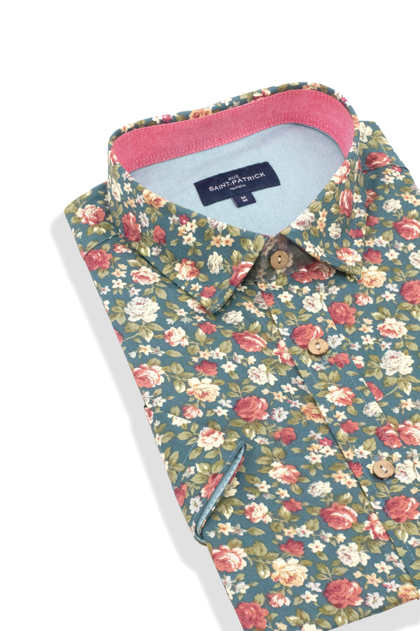 English Garden Print Short Sleeve Shirt in Teal Blue