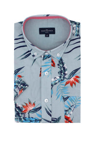 Jungle Leaf Print Shirt in Aqua Blue