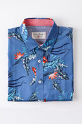 Jungle Leaf Print Shirt in Airforce Blue
