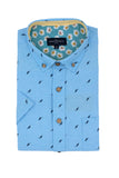 Easy Care Oxford with Feather print in Sea Blue
