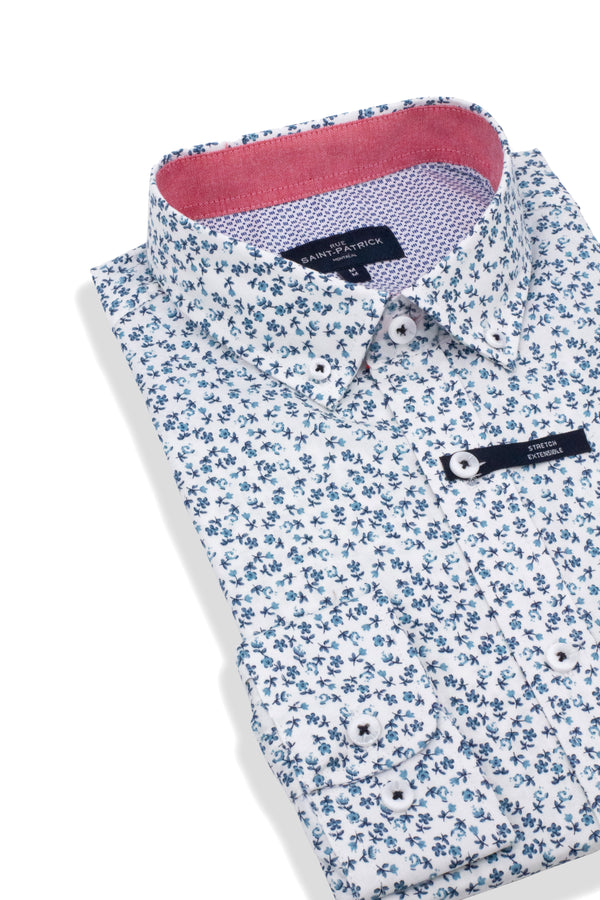 Poplin Stretch Floral Shirt in Blue and White
