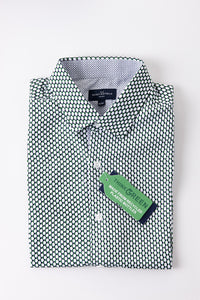 Eco Friendly Geometric Print Short Sleeve Shirt in Green and White
