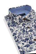 Tyrella Floral Short Sleeve Shirt in White and Dark Blue
