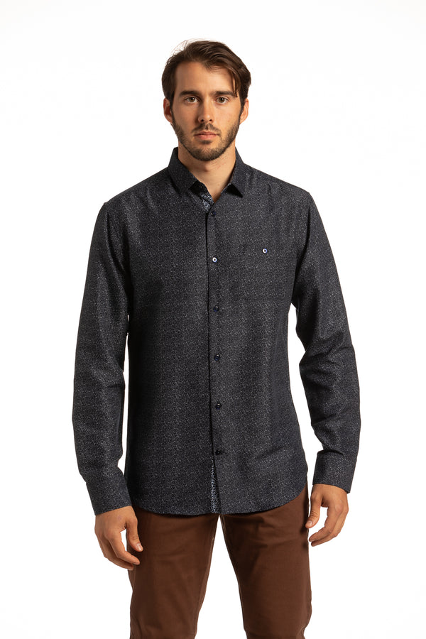Recycled Reilly Printed Shirt in Navy and Gray