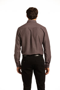 Recycled Reilly Lattice Printed Shirt in Burgundy
