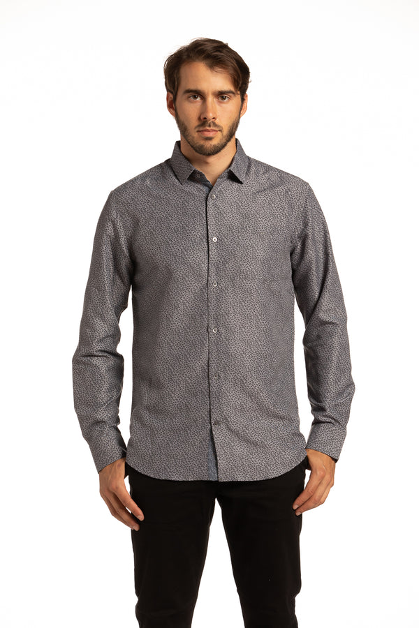 Recycled Reilly Floral Pattern Shirt in Dark Grey
