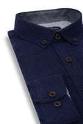 Dromore Brushed Diagonal Twill Shirt in Navy