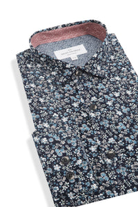 Glendun Short Sleeve Floral Shirt in Navy