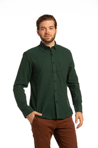 Killarney Solid Flannel Shirt in Forest Green