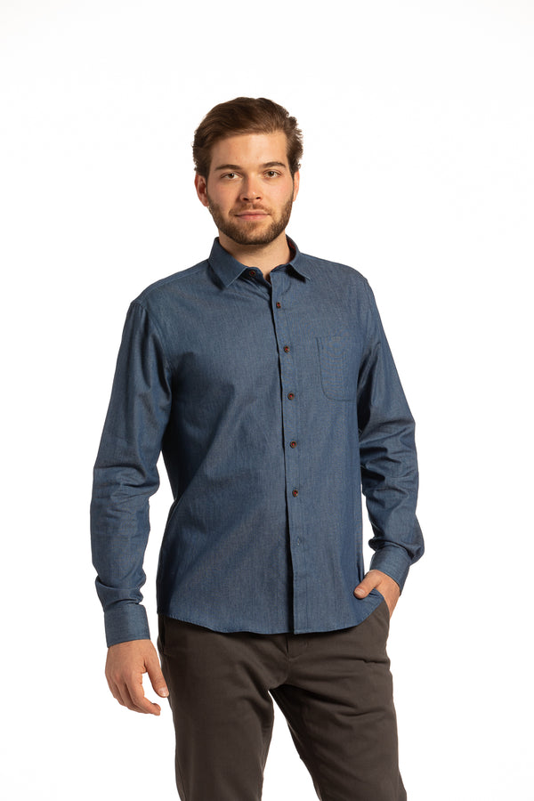 Enniskillen Shirt with Contrast Threads in Denim Blue