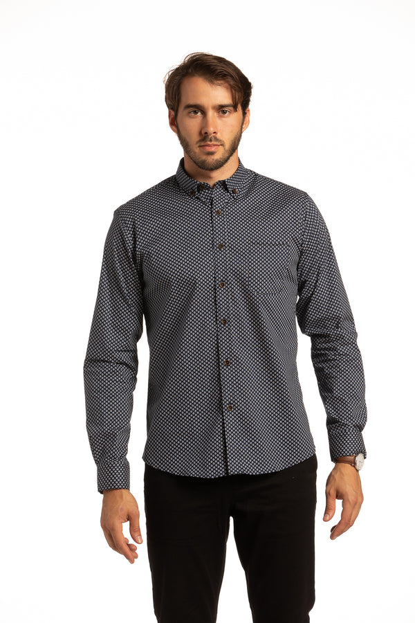 Monaghan Stretch Daisy Printed Poplin Shirt in Navy