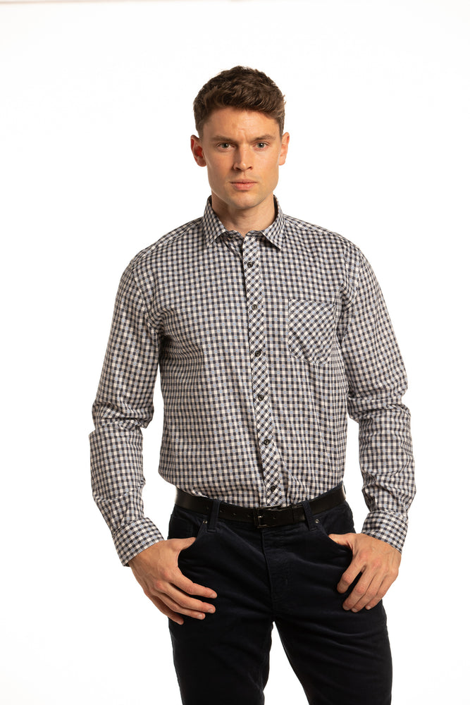 Monaghan Stretch Cubic printed Poplin Shirt in Navy, Blue and White