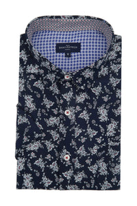 Cushendun Short Sleeve Floral Shirt in Navy
