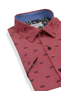 Cloughey Bicycle Print Short Sleeve Shirt in Cherry Red