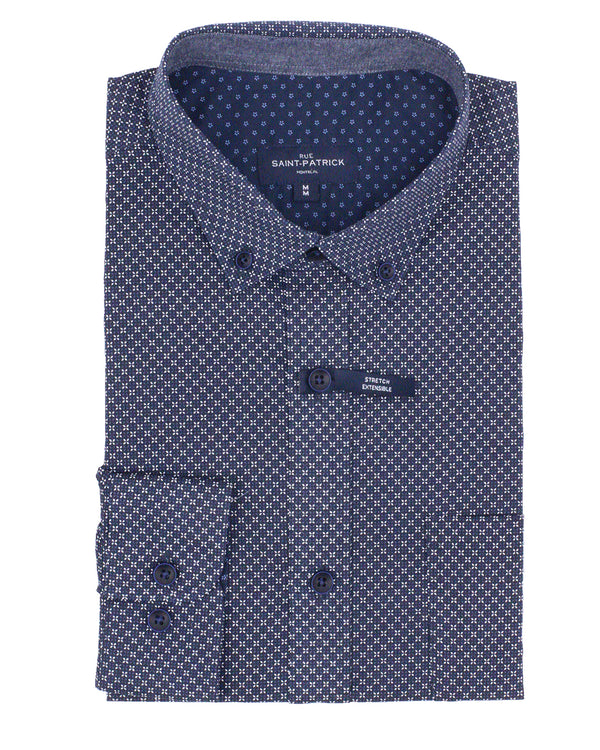 Waterford Stretch Printed Poplin Shirt in Navy
